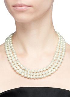 Kenneth Jay Lane Glass crystal pavé starburst glass pearl necklace
