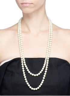 Kenneth Jay Lane Two row glass pearl necklace