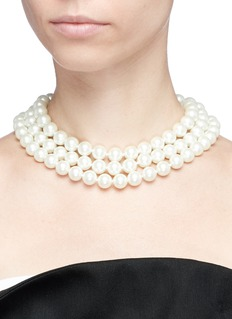 Kenneth Jay Lane Three row glass pearl necklace