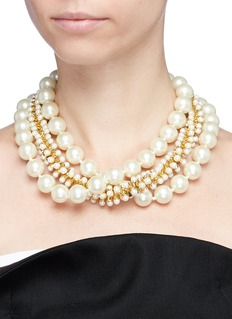 Kenneth Jay Lane Beaded three row glass pearl necklace