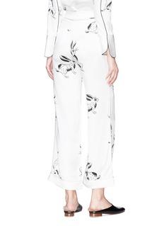 HELEN LEE Bunny print silk satin culottes