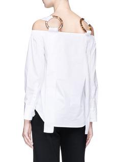 HELEN LEE Tortoiseshell ring off-shoulder cotton poplin top