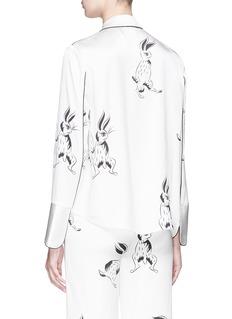 HELEN LEE Bunny print silk satin top