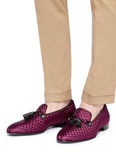 Louis Leeman Tassel satin basketweave loafers