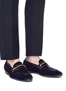 Louis Leeman Star stud velvet loafers