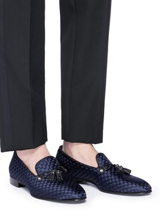 Louis Leeman Tassel satin basketweave loafers