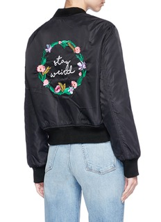 Olive and Frank 'Stay Weird' embroidered padded bomber jacket