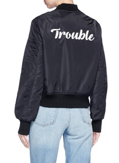 Olive and Frank 'Trouble' embroidered bomber jacket