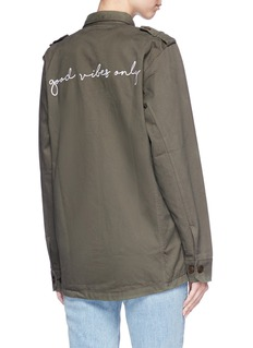 Olive and Frank 'Good Vibes Only' embroidered twill jacket