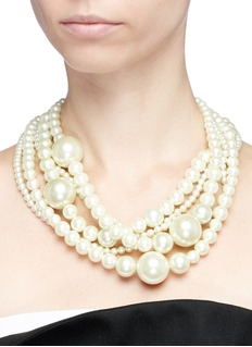 Kenneth Jay Lane Five row glass pearl necklace