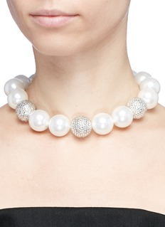 Kenneth Jay Lane Glass crystal pavé bead and pearl necklace