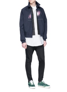 Johnundercover Stripe panel layered denim jacket
