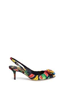 Dolce & Gabbana'Bellucci' raffia brooch fruit print brocade pumps
