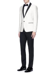 Dolce & GabbanaContrast shawl lapel diamond jacquard blazer