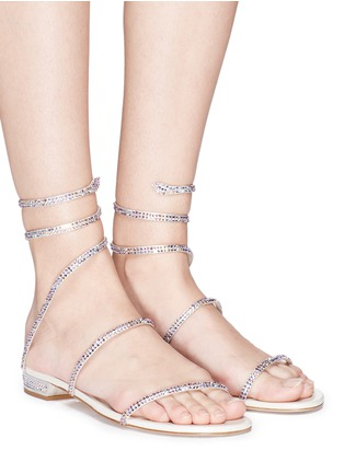 Figure View - Click To Enlarge - René Caovilla - 'Snake' strass coil anklet sandals