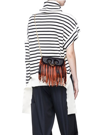 Figure View - Click To Enlarge - JW Anderson - 'Pierce' barbell ring fringe mini leather crossbody bag