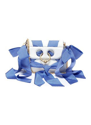 Main View - Click To Enlarge - JW Anderson - 'Pierce' ribbon bow barbell ring mini crossbody bag