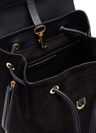 Detail View - Click To Enlarge - JW Anderson - 'Pierce' barbell ring mini leather flap suede backpack