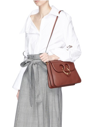 Figure View - Click To Enlarge - JW Anderson - 'Pierce' barbell ring medium leather shoulder bag