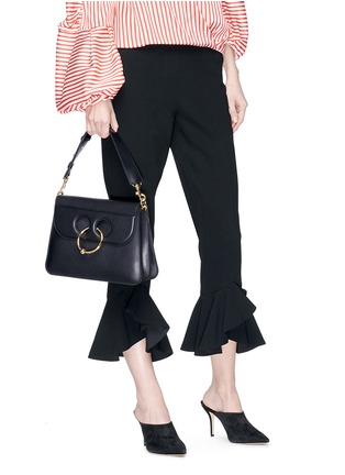 Front View - Click To Enlarge - JW Anderson - 'Pierce' barbell ring medium leather shoulder bag