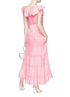 Rosie Assoulin Belted check plaid maxi dress