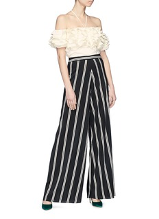 Rosie Assoulin Tiered ruffle halterneck off-shoulder crepe top