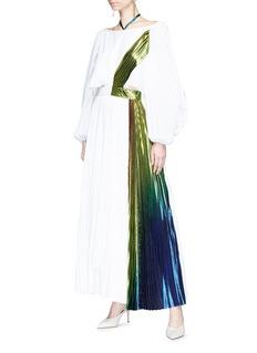 Rosie Assoulin Metallic lamé sash drape pleated crepe dress