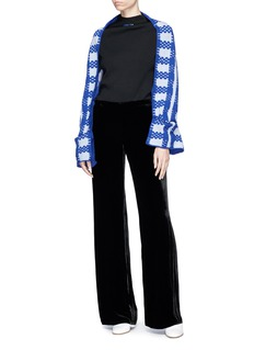 Fengyi Tan Check intarsia cropped wool blend scarf cardigan