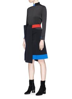 Fengyi Tan Colourblock asymmetric mock wrap suiting skirt