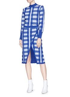 Fengyi Tan Check intarsia wool blend mock wrap midi skirt
