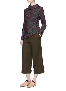 Marni Foldover mock neck floral print poplin blouse