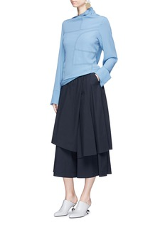 Marni Asymmetric neck patchwork effect crepe blouse