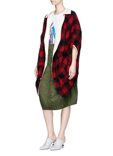 Marni Leather collar check wool flannel cape