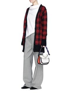 Marni Split back oversized check intarsia cardigan