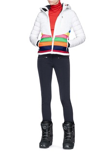 Perfect Moment 'Vale' rainbow stripe down puffer jacket