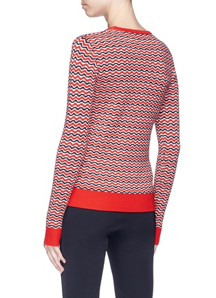 Back View - Click To Enlarge - Perfect Moment - 'Frequency' stripe extra fine Merino wool sweater