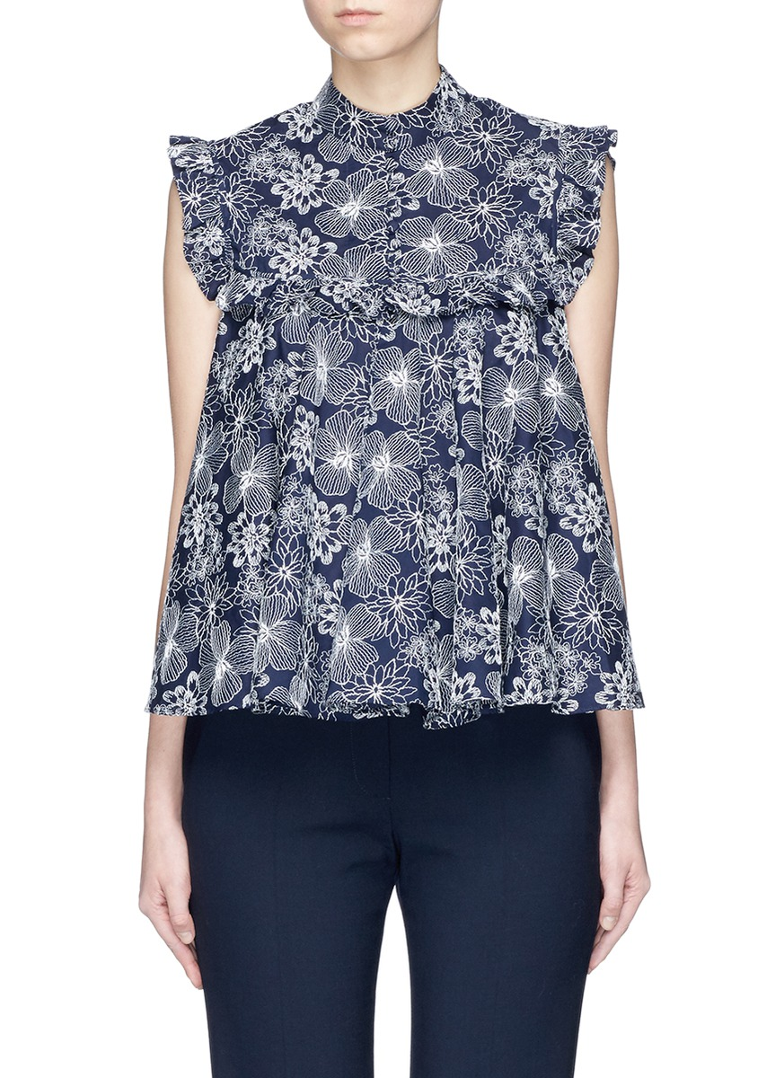Floral embroidered ruffle trim top by Co