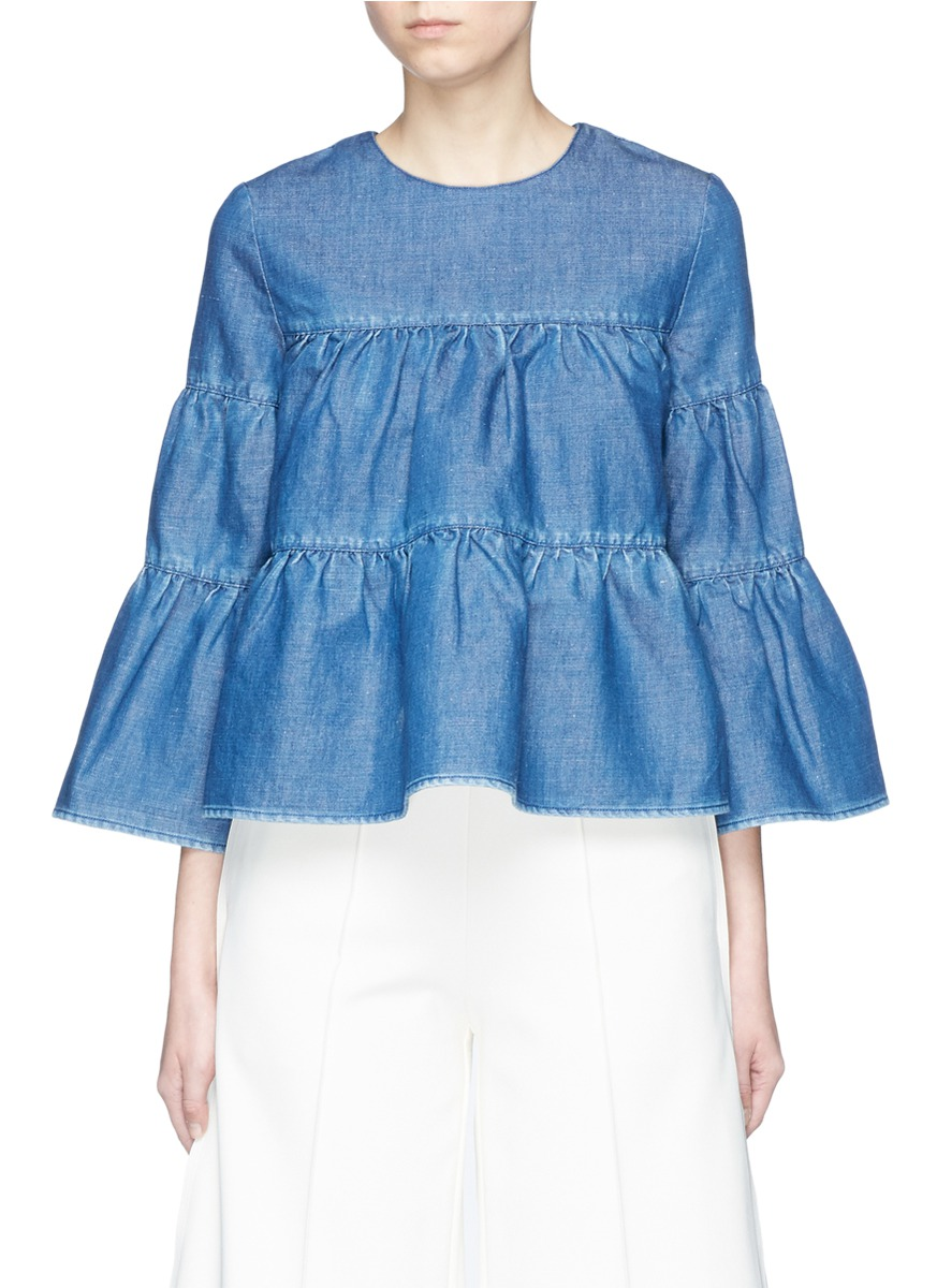 Bell sleeve ruffle denim blouse by Co