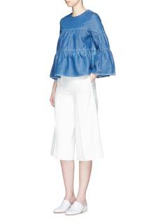 CoBell sleeve ruffle denim blouse