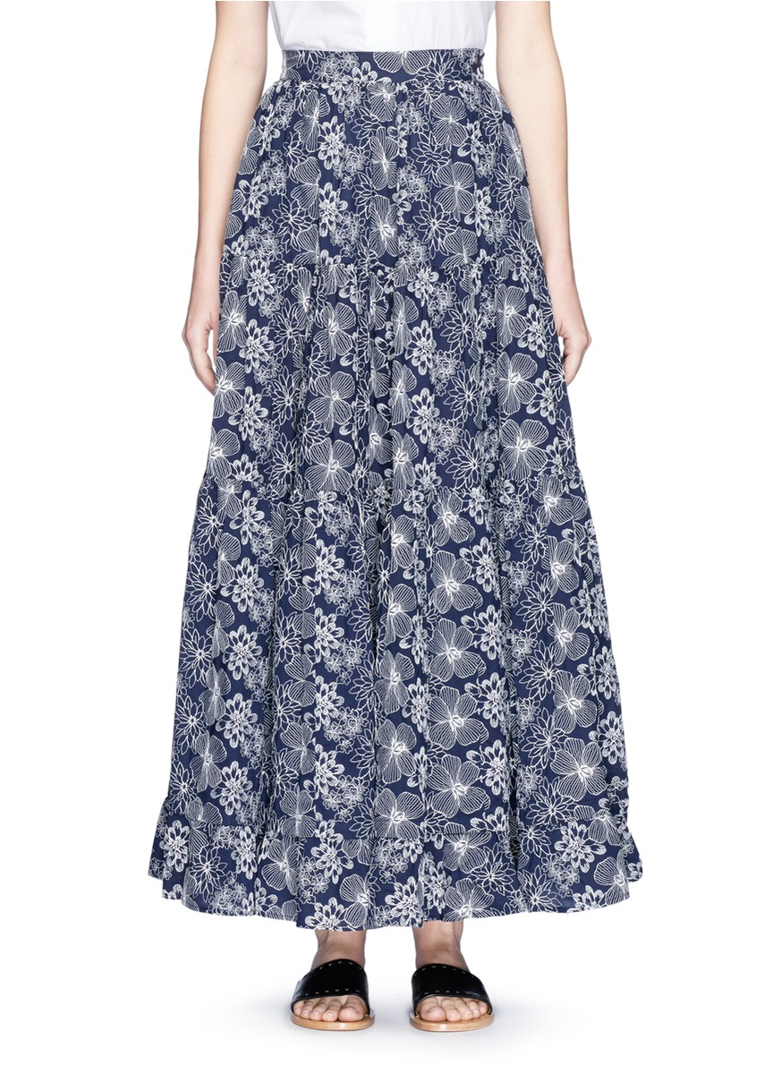 Floral embroidered ruffle maxi skirt by Co