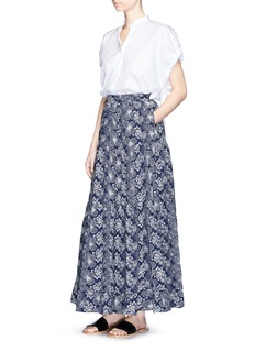 Co Floral embroidered ruffle maxi skirt