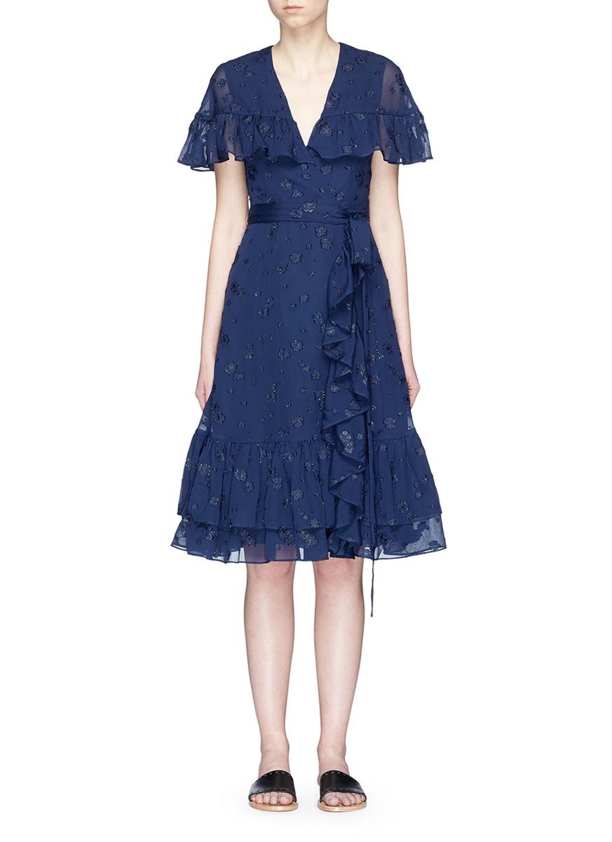 Floral fil coupé ruffle chiffon dress by Co