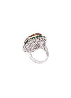 LC COLLECTION JADE Diamond jade 18k white gold ring
