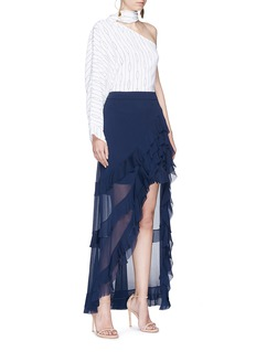 alice + olivia 'Lavera' asymmetric tiered ruffle crépon skirt