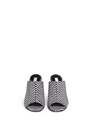 Front View - Click To Enlarge - Stella McCartney - Woven chevron stripe mules
