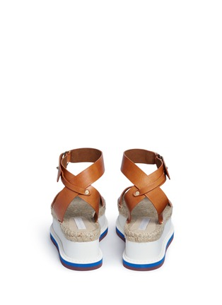 Back View - Click To Enlarge - Stella McCartney - Ankle strap raffia wedge sandals