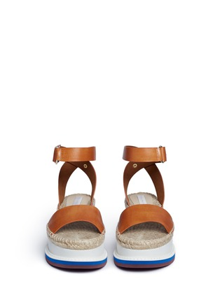 Front View - Click To Enlarge - Stella McCartney - Ankle strap raffia wedge sandals