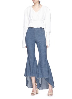 alice + olivia 'Jinny' high low flare chambray pants