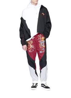 doublet Dragon embroidered colourblock track pants