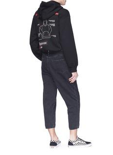 doublet Fringe slogan embroidered hoodie